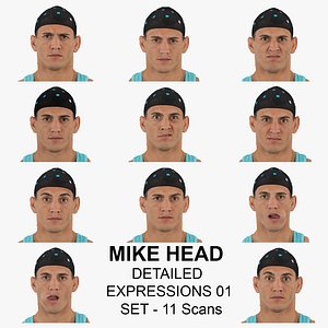 3D Mike Real Head Detailed Expressions 01 Set 11 Clean Scans Collection