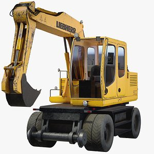 3D Mini Excavator Liebherr PBR