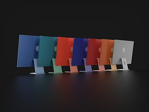 Apple iMac in All Official Colors 3D