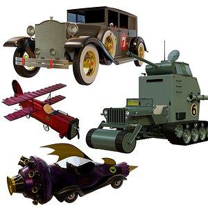 modeled cars wacky races 3D model
