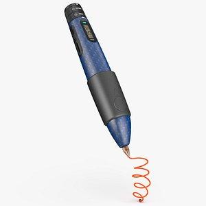 3D Printing Pen Blue Extrudes Spiral model