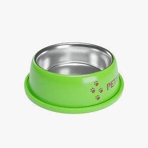 Pet Bowl Green Metallic 3D