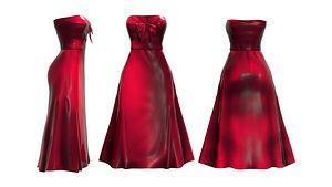 3D Chest Bow Strapless Dress