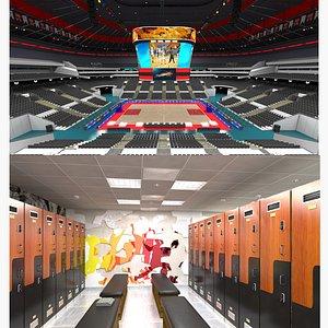 Basketball Arena and Locker Room 3D model