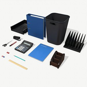 3D low-poly office supplies model