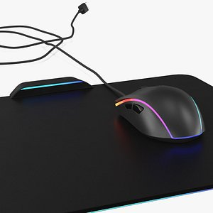3D model gaming mouse rgb pad