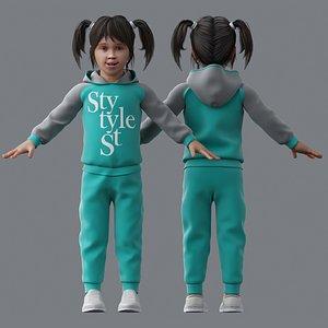 3D girl character child model