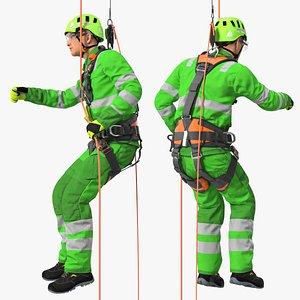 3D High Altitude Alpinist Worker Suspended model