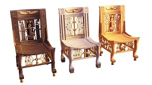 3D Egyptian Chairs Set
