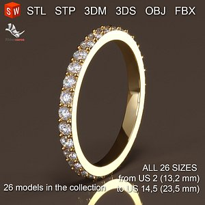 Wedding ring print 3D model