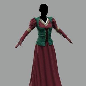 Medieval dress3 Marvelous Designer 3D model