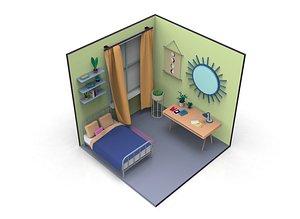 Cartoon room 2 Low-poly model