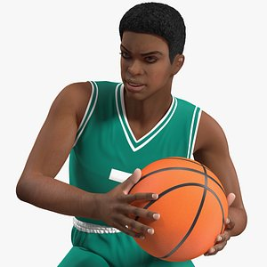 3D Light Skin Young Man Basketball Player Rigged for Cinema 4D