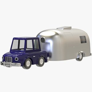 City Dweller Cartoon Car With Airstream Caravan model
