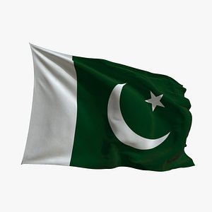 3D Realistic Animated Flag - Microtexture Rigged - Put your own texture - Def Pakistan