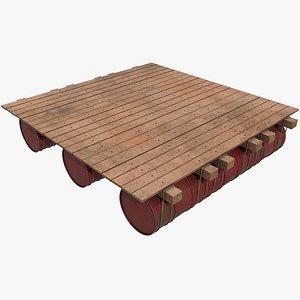 Wooden Raft v4 With Pbr 4K 8K model