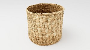 Round wicker  basket 3D model