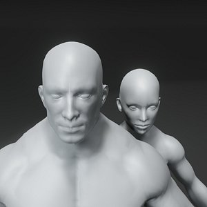 Superhero Muscular Human Male Female Body Base Mesh 3D model