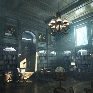 3D Old Classic Library - 8K PBR Textures