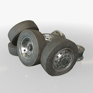 3D Truck Wheels Rims and Tires - Low Poly