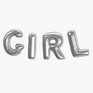 Foil Baloon Words Girl Silver 3D