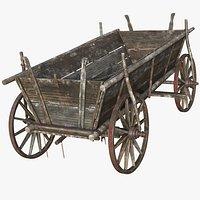 Wooden Cart 2, 8K PBR, Rigged