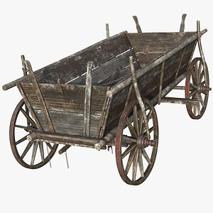 wooden cart wood model