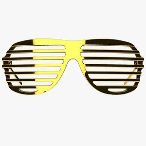 Gold Shutter Shades Sunglasses - Game Asset 3D