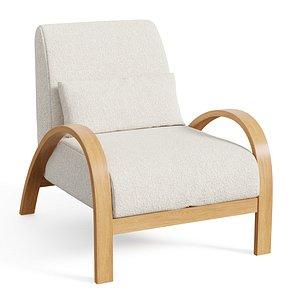 Boucle Bentwood Armchair 3D model