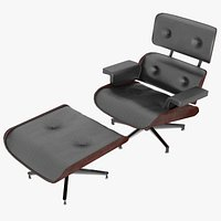 Eames Lounge Classic Chair and Ottoman Set Black Leather Mahogany Details