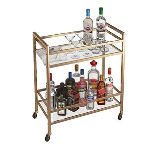 Mini Bar Beverage Table 3D