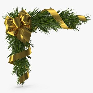 Christmas Corner Decoration with Gold Bow and Ribbon 3D model