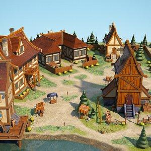 3D village stylized