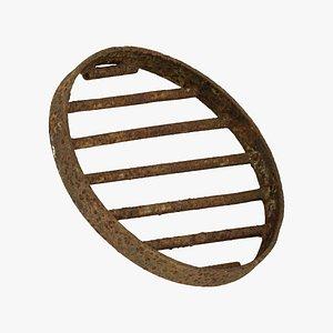 Rusty Manhole Grid Raw Scanned 3D model