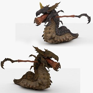 2 in 1 Worm monster Rigged and Animated 3D
