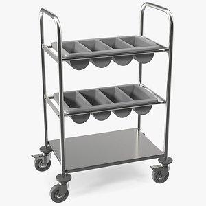 tray cutlery trolley 3D model