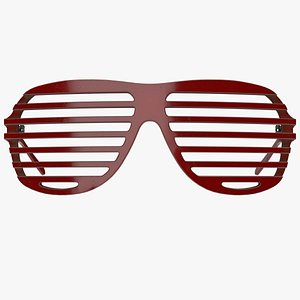 Shutter Shades Sunglasses - Dirty Red Plastic - Game Asset 3D