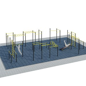 Sports ground with pull up bars 3D model
