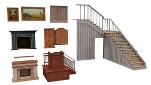 stairs, painting, fireplace, pulpit 3D model