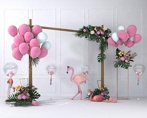 wedding balloon lobby flower wall 3D model