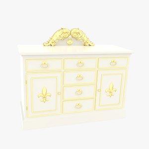 3D Dresser Victorian White model