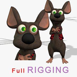 3D cartoon rat fully rigged