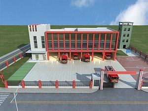 3D Fire station fire engine