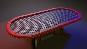 3D oval poker table