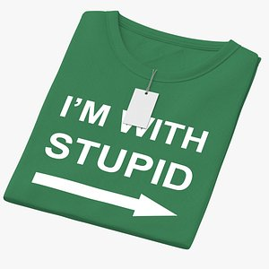 Female Crew Neck Folded With Tag Green Im With Stupid 01 3D