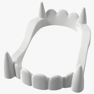 3D Plastic Vampire Teeth White Rigged