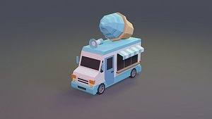 cream truck vehicle 3D model