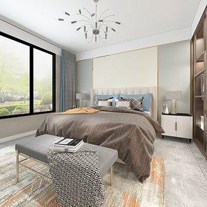 bedroom dresser bed 3D model
