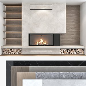 Fireplace and Firewood set 07 3D model