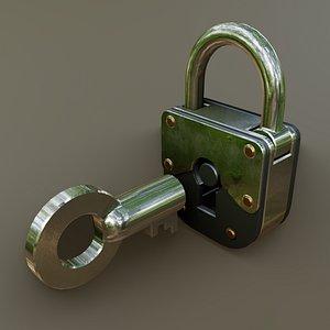 padlock security industrial 3D